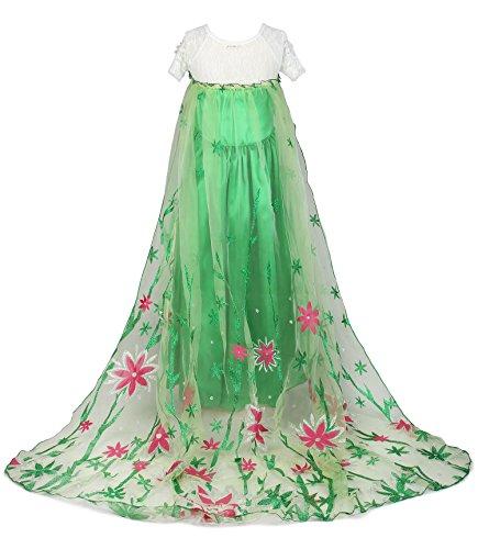 Imagen de jerrisapparel nuevo niña disfraz vestido de fiesta princesa con flor del cabo 110cm, verde  alternativa