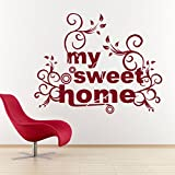 DECOR Kafe Home Decor Home Sweet Home Wall Sticker, Wall Sticker For Bedroom, Wall Art, Wall Poster (PVC Vinyl, 63 X 50 CM)