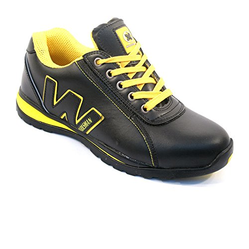 BARGAINS-GALORE Mens Safety Trainers Shoes Boots Work Steel Toe Cap Hiker Ankle Black Yellow