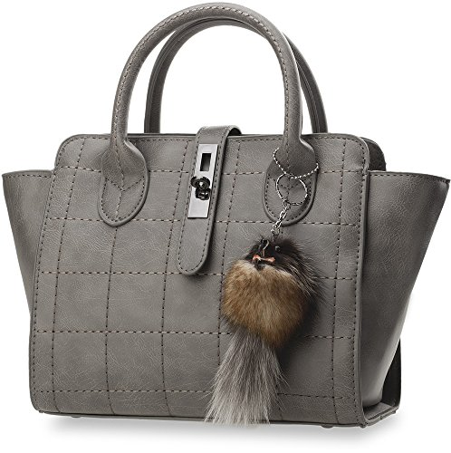 Damentasche Bowlingbag Handtasche Schultertasche kleine Aktentasche mit Anhänger Grau