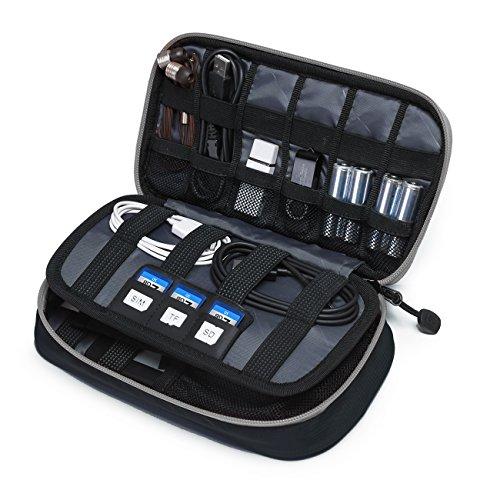 BAGSMART Kompakte Eletronik Kabeltasche Doppelte Fächer für USB Sticks, Kabel, Speicherkarte