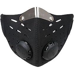 Ewolee Mascara Neopreno, Máscara del Viento, Mitad Cara Máscara con Filtro para Motocicleta Bicicleta Ciclismo Esquí Protección Universal - Negro