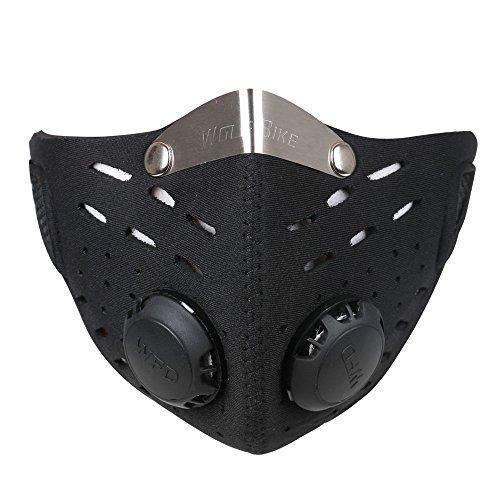 Ewolee Mascara Anticontaminacion - Mascara Neopreno, Mascara Antipolucion con Filtro para Motocicleta Bicicleta Ciclismo Esquí Protección Universal(Negro)