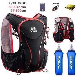 TRIWONDER Mochila de hidratación Ligero 5L Superior Chaleco para Trail Running Ciclismo Marathoner Profesional Hombre Mujer (Negro (L-XL) - con 2 Botellas de Agua Blandas)