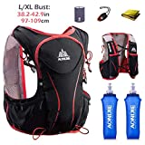 Triwonder Hydration Pack Backpack Hydrogen Vest 5L Lightweight Deluxe Marathoner Race Race (Nero (L-XL) - con 2 bottiglie di acqua dolce)