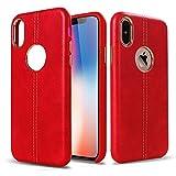 WELKOO Coque pour iPhone X et iPhone XS Anti Choc et Résistante, Design Vintage de qualité Premium Effet Cuir Couleur Rouge, Souple et Flexible. Compatible avec l'iphone X et iPhone XS.