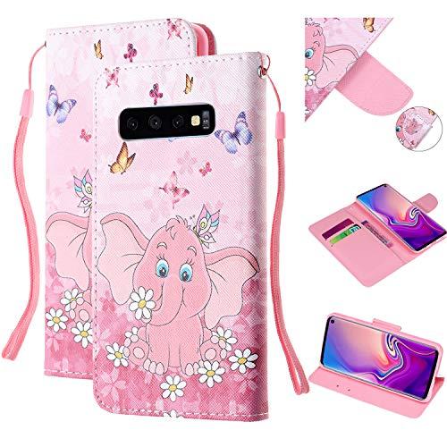 Preisvergleich Produktbild Shinyzone Hülle für Samsung Galaxy S10, Premium Leder Flip Case Brieftasche Handyhülle mit Kartenhalter Klapphülle Magnetverschluss[Handschlaufe] [Standfunktion]-Elefant