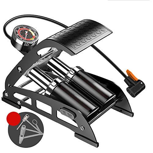 Fußluftpumpe, ABEDOE Einzel Doppelzylinder Pedal Inflator Präzisions-Manometer Hochdruck-Pumpwerkzeug Tragbarer Fußluftball, Fahrrad Roller Motorrad Auto Pumpen Spielzeug Bälle Aufblasbar