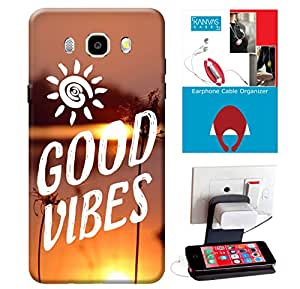 Samsung Galaxy J5 2016 Edition Accessories Combo, Premium Quality Designer Printed 3D Lightweight Slim Matte Finish Hard Case Back Cover for Samsung Galaxy J5 2016 Edition + Free Earphone Cable Organizer + Mobile Charging Holder/Stand