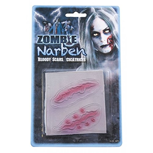 ombie Narben Halloween-Latexapplikation Haut-rot Einheitsgröße ()