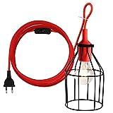 LEDGLE Hängendes Laterne-Schnur-Kabel hängendes Lampen-Schnur-hängendes helles Kabel mit Einem Metalllicht-Schutz und EIN/AUS Schalter, E27 Einfaßung, vervollkommnen für DIY Dekoration,Rot