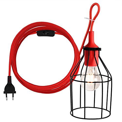 Hängendes Laterne-Schnur-Kabel hängendes Lampen-Schnur-hängendes helles Kabel mit einem Metalllicht-Schutz und EIN / AUS Schalter, E27 Einfaßung, vervollkommnen für DIY Dekoration, 15ft, Rot