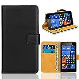Microsoft Lumia 535 Handy Tasche, FoneExpert® Wallet Case Flip Cover Hüllen Etui Ledertasche Lederhülle Premium Schutzhülle für Microsoft Lumia 535 (Schwarz)