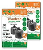 Swadesh Garbage Bags, Black Color, Size: 48cms x 54cms, 19inch x 21inch, Combo of 02pack x 30pcs each = 60pcs (02Pack)