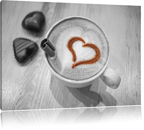 Leckerer Kaffee mit Herz schwarz/weiß Format: 60x40 auf Leinwand, XXL riesige Bilder fertig gerahmt mit Keilrahmen, Kunstdruck auf Wandbild mit Rahmen, günstiger als Gemälde oder Ölbild, kein Poster oder Plakat Herz Kaffee