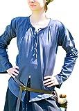 Battle-Merchant Mittelalter Bluse aus weicher Baumwolle, blau, Gr. S-XXL - LARP - Mittelalterbluse Größe M