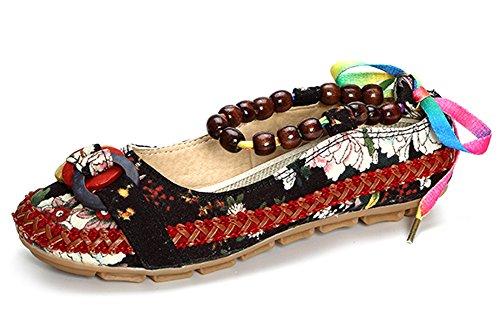 Minetom Damen Sommer Herbst Traditionelle Chinesischer Blumen Stickmuster Mary Jane Halbschuhe Ballerina Shoes China Flat Schuhe Schwarz EU (Kostüme Halloween Ethnische)