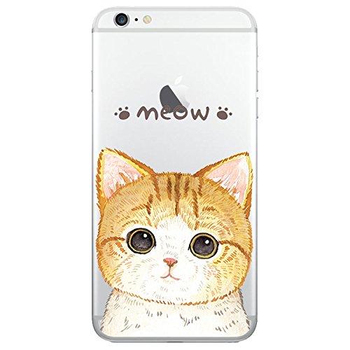 Custodia iPhone 6 6S Cover Case Sleeve Silicone TPU Bumper transparente 4.7 Gato 1