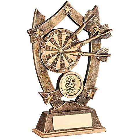 JR3-RF492B Brz/Gold Resin Darts 5 Star Trophy - (1in Centre)