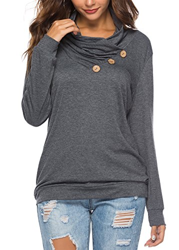 KISSMODA Damen Langarm Cowl Neck Sweatshirt T-Shirts Tops Dunkelgrau Medium -