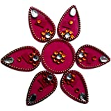 Handmade Elegantly Designed Pink Rangoli - With Tear Drop Shape Design Decorated With Multicolour Stones And Beads On Pink Plastic Base - 7 Pieces Set - Packed In Transparent Pouch