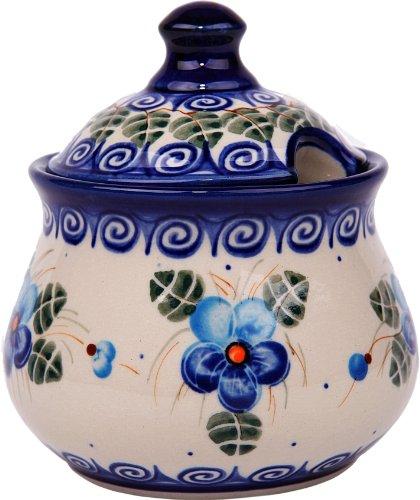 Polish Pottery Ceramika Boleslawiec, 0051/162, Sugar Bowl Iza, 1 Cup, Royal Blue Patterns with Blue Pansy Flower Motif Flower Sugar Bowl