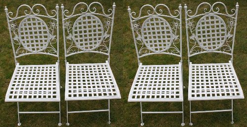 Maribelle - Lot de 4 chaises en métal - carrées/pliantes - pour extérieur/jardin/terrasse - motif floral/blanc