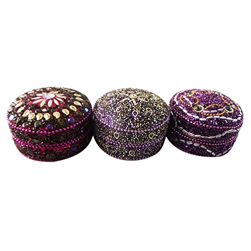contenitore di monili decorativi Set di 3 pezzi materiale alluminio lac rotonda pillola a mano forma di scatola magenta stoccaggio viola voce la cassa del regalo