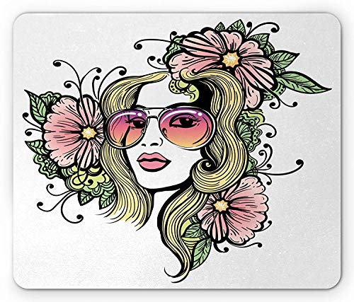 Drempad Gaming Mauspads, Curly Hair Mouse Pad, Exotic Young Woman with Sunglasses and Flowers Hippie Freedom Look, Rectangle Non-Slip Rubber Mousepad, Green Pink and Yellow 9.8 X 11.8 INCH