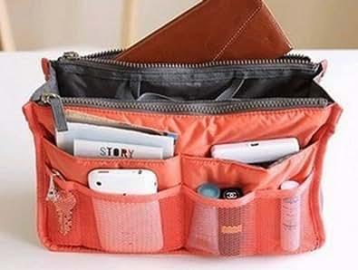 Cotton Padded Nylon Insert Purse Handbag Organiser (Nacarat)