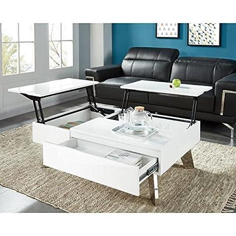 Zanzibar table basse transformable 110x75 cm - laqué blanc brillant