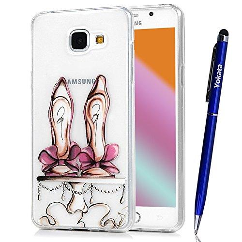 Für Samsung Galaxy A5 / 2016 Cover, Yokata Transparent Comic Motiv TPU Soft Case mit Weich Silikon Bumper Crystal Clear Klar Schutzhülle Durchsichtig Dünne Case Hülle + 1 X Stylus (Schuhe High Kitty Heels Hello)