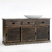 IDIMEX Buffet SAVONA bahut vaisselier commode avec 3 tiroirs et 3 portes coulissantes, en pin massif lasuré gris foncé