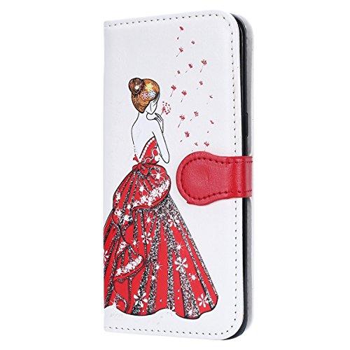 Galaxy S8 Plus Hülle,Galaxy S8 Plus Lederhülle,Hpory Vintage Elegant Painted Muster Handyhülle im Bookstyle PU Leather Wallet Brieftasche Flip Case Cover Ledertasche,Etui Folio Handytasche mit Standfu Löwenzahn Göttin,weiß