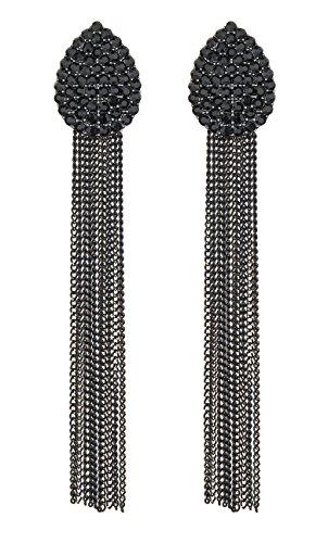 Ohrclips - schwarze Kristalle Kronleuchter mit Kette Fransen - Brook von Bello London ...