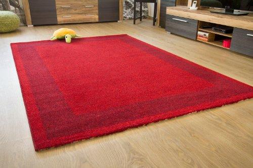 Moderner Designer Teppich Flores Bordüre rot - Öko-Tex zertifiziert, Größe: 160x230 cm -