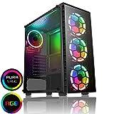 CiT Raider Gaming Case 4 x Halo Spectre RGB Ventilateurs Verre Avant et Côté MB...