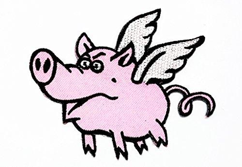 Lustige Fliegende Schweine (rabana Flying Pig Cartoon Comics Cartoon Kids Kinder Cute Animal Patch für Heimwerker-Applikation Eisen auf Patch T Shirt Patch Sew Iron on gesticktes Badge Schild Kostüm)