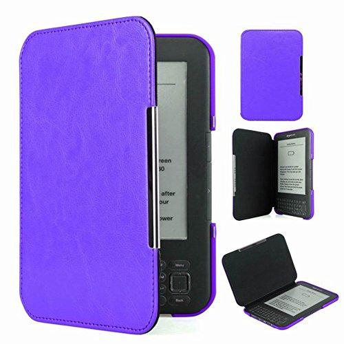 Meijunter Purple Slim Leder Protector Pouch Fall Decken Tablette-Kasten Cover Case Für Kindle Keyboard/Kindle 3