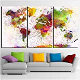 LQWE Pittura su Tela Home Decor HD Prints Canvas Living Room Immagini astratte 3 Pezzi Color World Map Paintings Poster Art Art Modulari