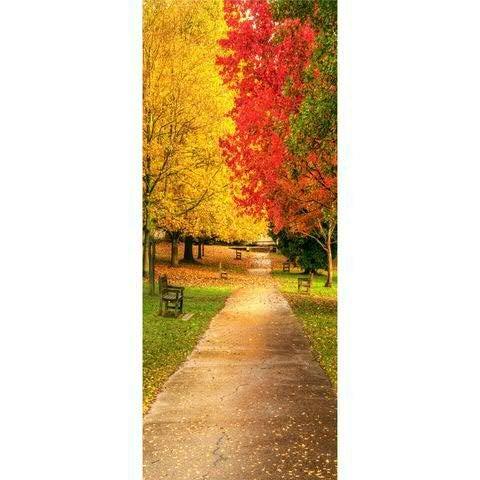 Textilbanner - Thema: Herbst - Herbststraße - 180cmx75cm - Banner zum Hängen & Dekorieren