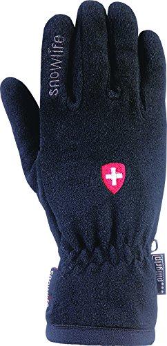 Snowlife Gants Homme de ski, pour sports d'hiver, Modèle Smart Fleece Noir/Swiss