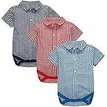 CuteOn 3 pack Manica corta Plaid Bambino pagliaccetto Ragazzi Camicie bambini Abbigliamento 6M-24M