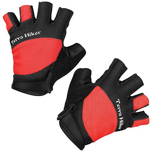 Fahrradhandschuhe, Terra Hiker Halbfinger Radsporthandschuhe, Atmungsaktive Sporthandschuhe (Rot L)