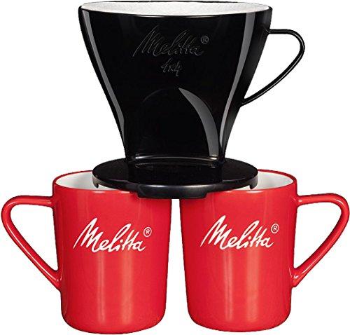 Melitta Kaffee-Set, Kaffeehalter für Filtertüten und Porzellan-Tassen (2 Stück), Kaffeefilter 1x4...