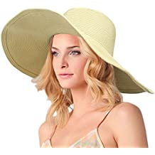 DAFUNNA Sombrero de paja para mujer de ala ancha Plegable Sombrero de Sol Color sólido Playa Vacaciones