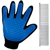 Anpro Bürste Handschuh + Haustier kamm Pflegenbürste Tierhaar Fingerhandschuhe HundBürste Haustier Pflege Kamm Fellpflege für Hund und Katze (rechte Hand), Blau