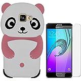 Hcheg Case Cover 3D en silicone pour Samsung Galaxy A5 (2016) Panda Design Rose / Blanc Case Cover + 1X Nano-proof film de protection écran