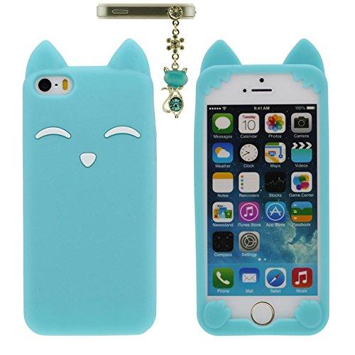 Apple iPhone 5 5S 5C / iPhone SE Hülle Case Schön Tier Fuchs Lächeln Gestalten Serie Weich Silikon Dünn Licht Handyhülle mit 1 Metall Anhänger - Schwarz blau