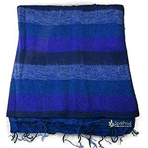 Natur-Eco Meditationsdecke Yogadecke XL Blau – Violett 115×245 cm im Nepal Handgemacht